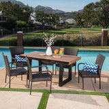 Outdoor 7 Piece Stacking Multi-brown Wicker and Concrete Dining Set - NH808303