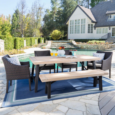 Outdoor 6 Piece Brushed Gray Acacia Wood Dining Set - NH887203