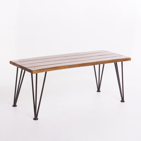 Outdoor Rustic Industrial Acacia Wood Coffee Table with Metal Hairpin Legs, Teak - NH840103