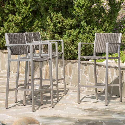 Ortensia Outdoor Grey Wicker Barstools (Set of 4)