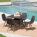 Outdoor 5 Piece Multi-brown Wicker Square Dining Set - NH569103