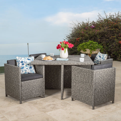 5-Piece Outdoor Dark Grey Wicker Dining Set - NH890992