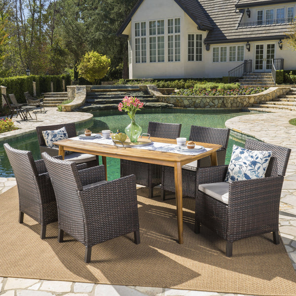 Outdoor 7 Piece Wicker Dining Set with Acacia Wood Table - NH153203