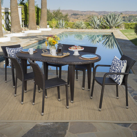 Outdoor 7 Piece Multi-brown Wicker Oval Dining Set with Stacking Chairs - NH146203