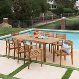 Outdoor 9 Piece Acacia Wood Dining Set with Expandable Dining Table - NH375303
