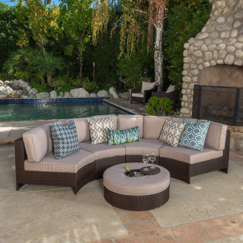 5pc Outdoor Sectional Sofa Set w/ Ice Bucket Ottoman - NH440992