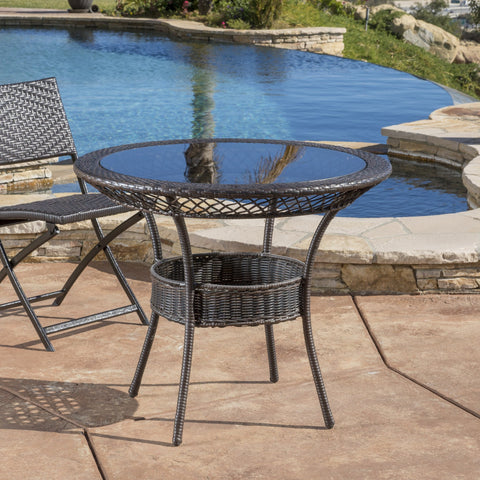 34-inch Round Outdoor Wicker Dining Table - NH225692