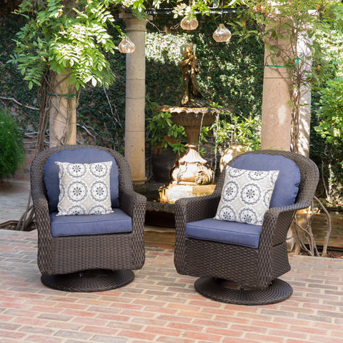 Outdoor Wicker Swivel Club Chairs with Water Resistant Cushion - NH861203