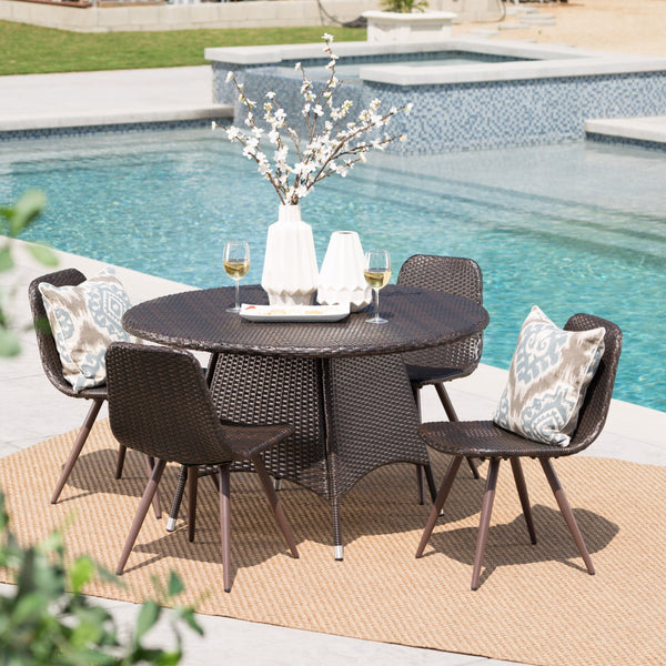 Outdoor 5 Piece Multi-brown Wicker Circular Dining Set - NH469103
