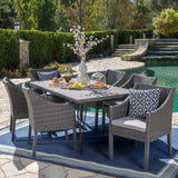 Outdoor 7 Piece Wicker Dining Set with Water Resistant Cushions - NH581203
