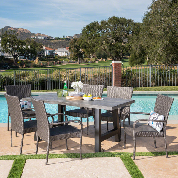 Outdoor 7 Piece Stacking Grey Wicker and Concrete Dining Set - NH697303