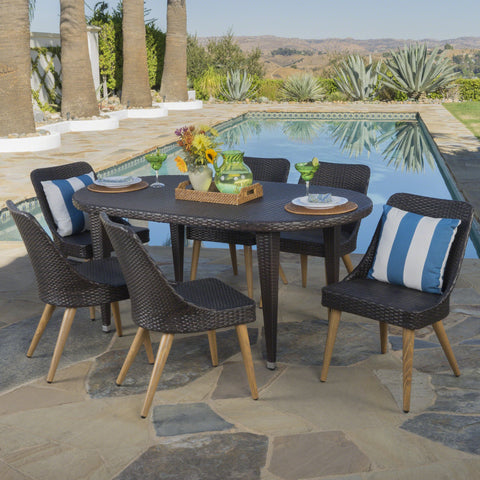 Outdoor 7 Piece Multi-brown Wicker Dining Set with Wood Finished Legs - NH446203