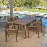 Outdoor 7 Piece Teak Finished Acacia Wood Dining Set - NH897203