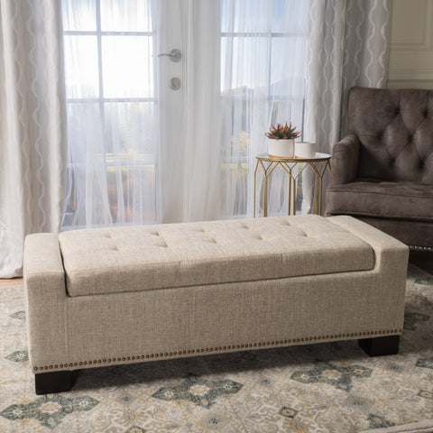 Fabric Rectangle Storage Ottoman Bench - NH561003