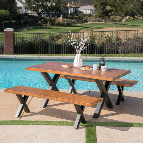 Outdoor 3 Piece Brown Walnut Finish Lightweight Concrete Picnic Set - NH477303