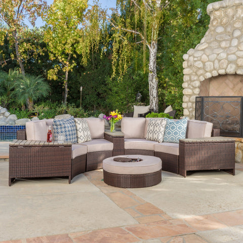 8pc Outdoor Sectional Sofa Set w/ Storage Trunks & Ice Bucket - NH650992