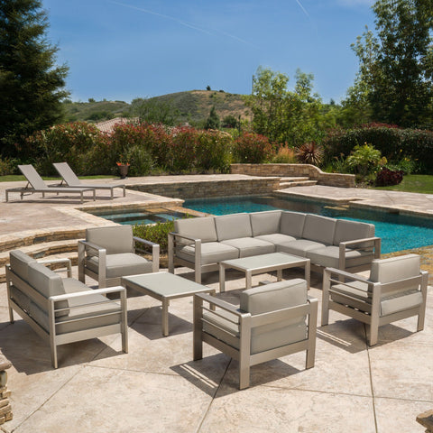 Outdoor Modern 10 Piece Silver Aluminum Sectional Set with Cushions - NH271892