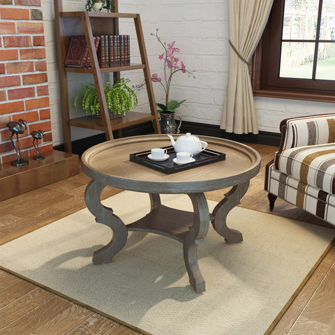 Finished Faux Wood Circular Coffee Table - NH372303