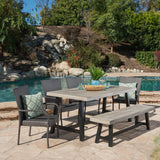 Outdoor 6 Piece Stacking Wicker Dining Set with Acacia Wood Table and Bench - NH909303
