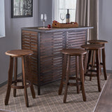 Indoor 5 Piece Dark Brown Finish Acacia Wood Bar Set - NH818303