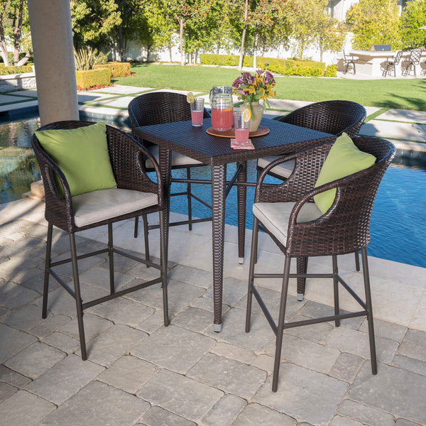 Outdoor 5 Piece 41 Inch Multi-brown Wicker Square Bar Set - NH618203