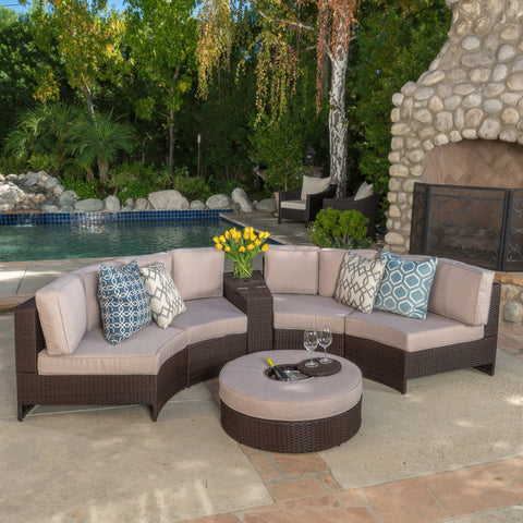 6pc Outdoor Sectional Sofa Set w/ Storage Trunk & Ice Bucket - NH840992