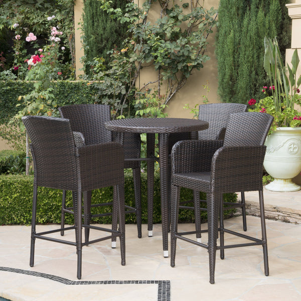 Outdoor 5 Piece Multi-brown Wicker Round Bar Table Set - NH803203