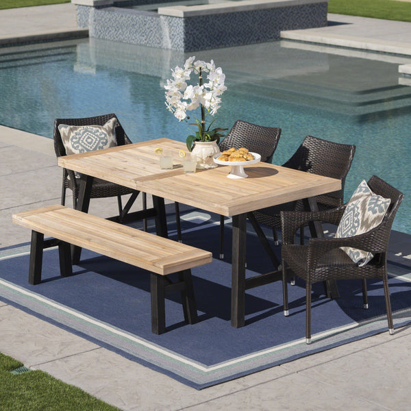 Outdoor 6 Piece Acacia Wood Dining Set with Wicker Stacking Chairs - NH487203