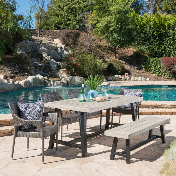 Outdoor 6 Piece Wicker Dining Set with Acacia Wood Table and Bench - NH809303
