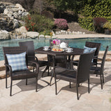 Outdoor 7 Piece Wicker Hexagon Dining Set with Stacking Chairs - NH281403