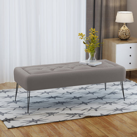 Modern Button Tufted Fabric Upholstered Ottoman Bench with Hairpin Legs - NH032303