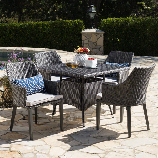 Outdoor 5 Piece Wicker Square Dining Set with Water Resistant Cushions - NH264203