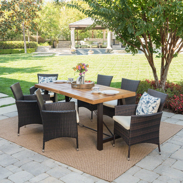 Outdoor 7 Piece Dining Set with Teak Finished Wood Table and Brown Chairs - NH842203