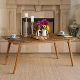 Indoor Farmhouse Cottage Teak Finished Acacia Wood Dining Table - NH697203