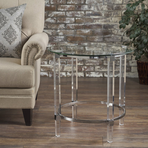 See Through Clear Acrylic & Glass Round End Table - NH532203