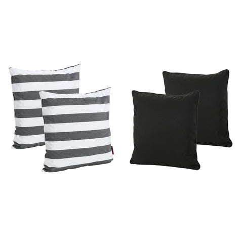 Outdoor Striped Water Resistant Square Throw Pillows - Set of 4