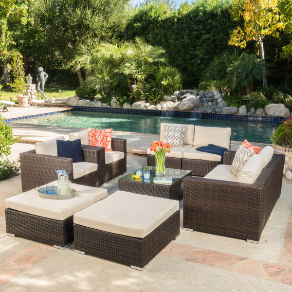 9pc Outdoor Wicker Sectional Sofa Set w/ Cushions - NH254992