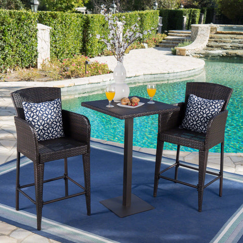 Outdoor 3 Piece Square Multi-brown Wicker Bar Set - NH844203
