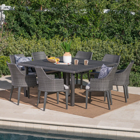 Outdoor 9 Piece Wicker Dining Set with Light Water Resistant Cushions - NH619303