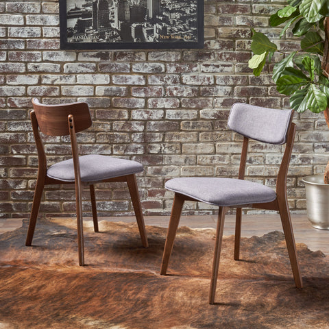 Mid-Century Walnut Finished Frame Dining Chairs (Set of 2) - NH082103