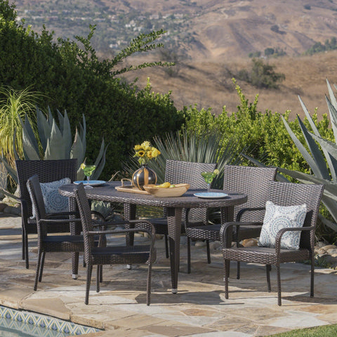 Outdoor 7 Piece Multi-brown Wicker Oval Dining Set with Stacking Chairs - NH536203