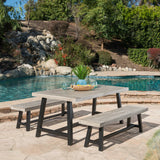 Outdoor Modern Industrial 3 Piece Acacia Wood Picnic Dining Set with Benches - NH409303