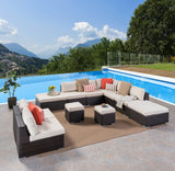 Outdoor 7 Seat Wicker Sofa Sectional Set with Aluminum Frame - NH723403