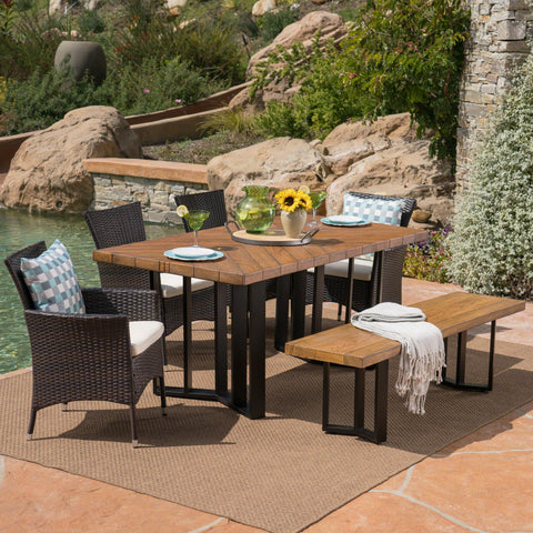 Outdoor 6 Piece Wicker Dining Set with Concrete Dining Table and Bench - NH711403