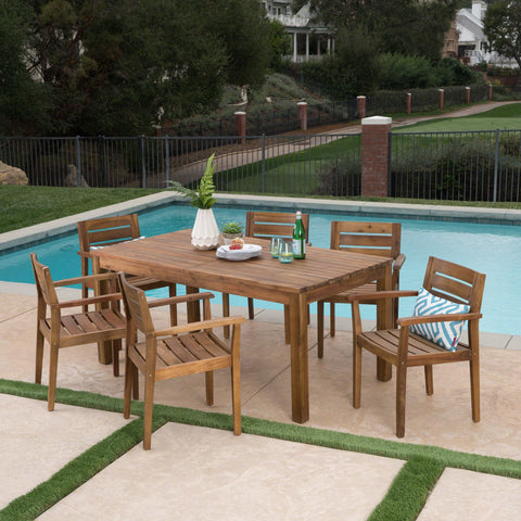 Outdoor 7 Piece Acacia Wood Dining Set with Expandable Dining Table - NH275303