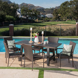 Outdoor 7 Piece Stacking Multi-brown Wicker and Concrete Dining Set - NH039303