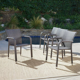 Outdoor Wicker Armed Stacking Chairs with an Aluminum Frame (Set of 4) - NH732103