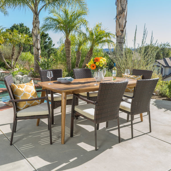 Outdoor 7-Piece Brown Wicker Dining Set with Cream Cushions - NH590003