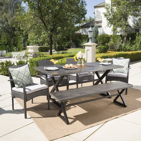Outdoor 6 Piece Gray Aluminum Dining Set with Bench and Gray Wicker Dining Chairs - NH594203