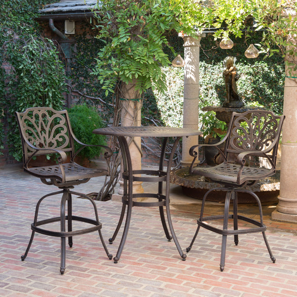 Outdoor 3 Piece Bronze Cast Aluminum Bar Set - NH342203